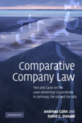 Comparative Company Law - Donald, David C. (professor Of Law, The Chinese University Of Hong Kong); Cahn, Andreas - ISBN: 9780521143790