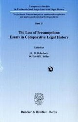 The Law of Presumptions: Essays in Comparative Legal History - ISBN: 9783428131242