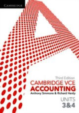Cambridge Vce Accounting Units 3 And 4 - Simmons, Anthony; Hardy, Richard - ISBN: 9781107640702