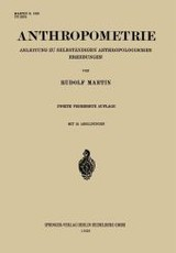 Anthropometrie - Martin, Rudolf - ISBN: 9783662314746