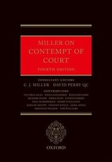 Miller On Contempt Of Court - Miller, C. J. (EDT)/ Perry, David (EDT) - ISBN: 9780198793465