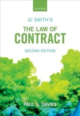 Jc Smith's The Law Of Contract - Davies, Paul S. (professor Of Commercial Law, Ucl) - ISBN: 9780198807810