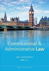 Constitutional & Administrative Law - Parpworth, Neil - ISBN: 9780198810704