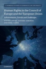Cambridge Studies In European Law And Policy - Slowe, Rosie (university Of Bristol); Gerards, Janneke (universiteit Utrecht, The Netherlands); Greer, Steven (university Of Bristol) - ISBN: 9781107025509