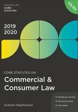 Core Statutes On Commercial & Consumer Law 2019-20 - Stephenson, Graham - ISBN: 9781352006636