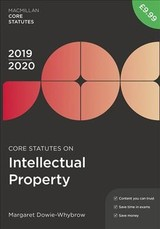 Core Statutes On Intellectual Property 2019-20 - Dowie-whybrow, Margaret - ISBN: 9781352006872