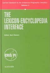 Lexicon-Encyclopedia Interface - Peeters, Bert (EDT) - ISBN: 9780080435916